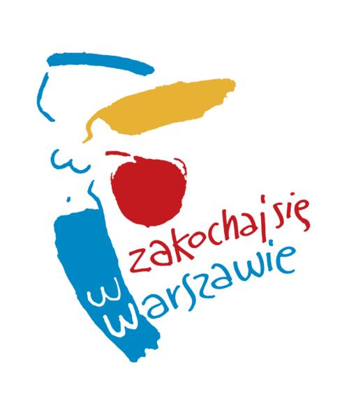Symbol Warszawy. Grafika przedstawia Syrenkę. Ciało i szabla są niebieskie. Tarcza czerwona. Włosy żółte. napis Zakochaj się w Warszawie. Litery W imitują łuski na ogonie Syrenki.