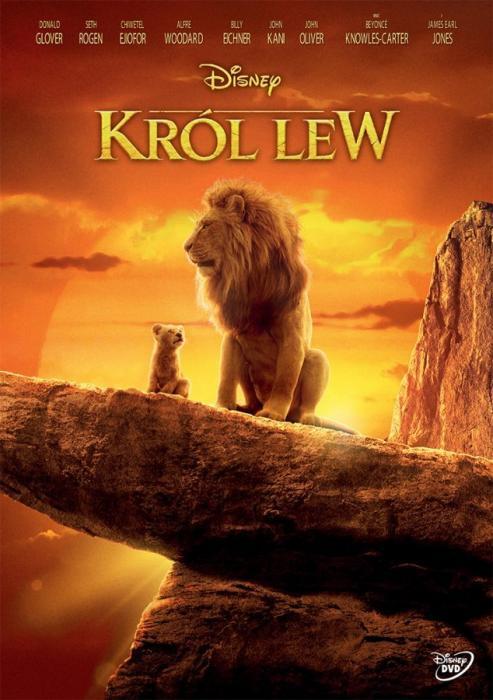 Na skale stoi lew z lwiątkiem. W tle zachodzące słońce. Napis Król Lew.
