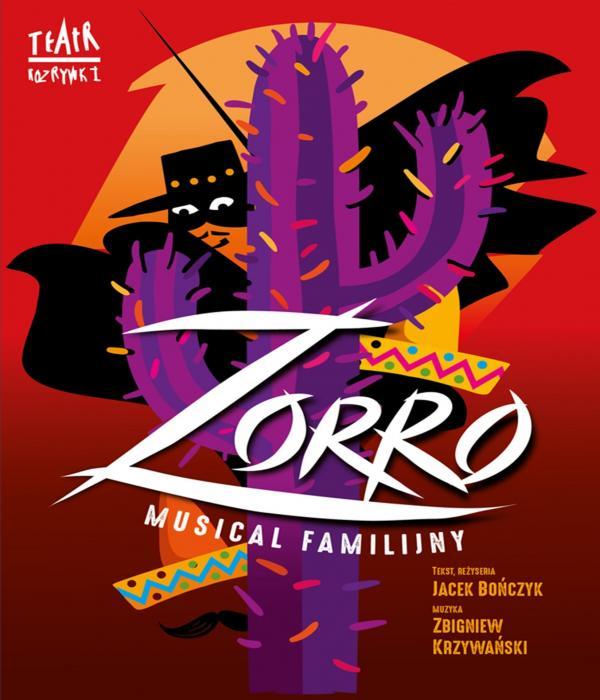 Za fioletowym kaktusem ukrywa się Zorro. W centrum napis Zorro.