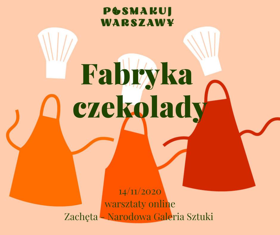 Ilustracja. Fartuchy i czapki kucharskie. Napis Fabryka czekoladek.