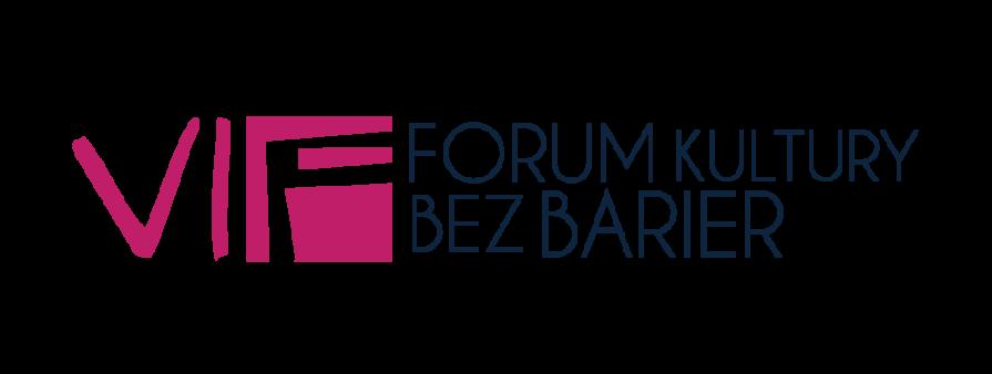 Logo Forum. Bordowe duże litery VI F, granatowy napis w dwóch wersjach Forum Kultury bez Barier
