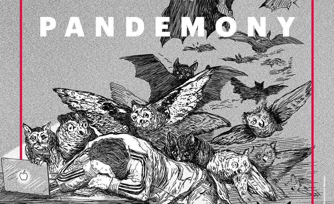 Plakat. Czarno biały rysunek, Postać przy komputerze, nad nią chmara demonicznych nietoperzy.