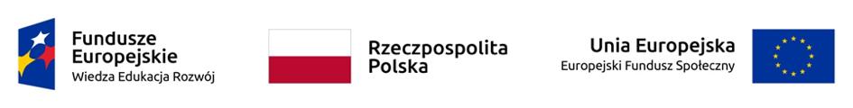 Logotypy: Fundusze Europejskie, Unia Europejska, Rzeczpospolita Polska